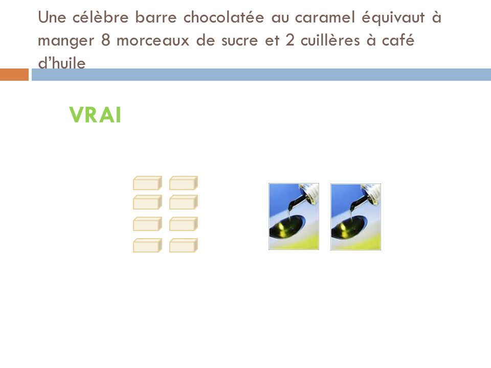 Une célèbre barre chocolatée au caramel équivaut à manger 8 morceaux de sucre et 2 cuillères à café dhuile VRAI