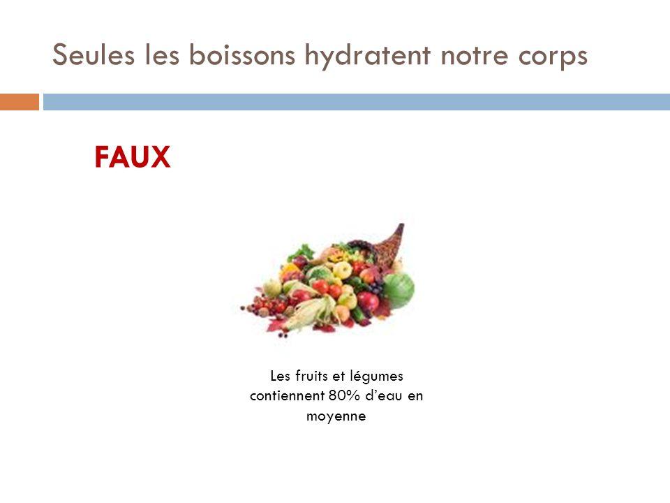 Seules les boissons hydratent notre corps FAUX Les fruits et légumes contiennent 80% deau en moyenne