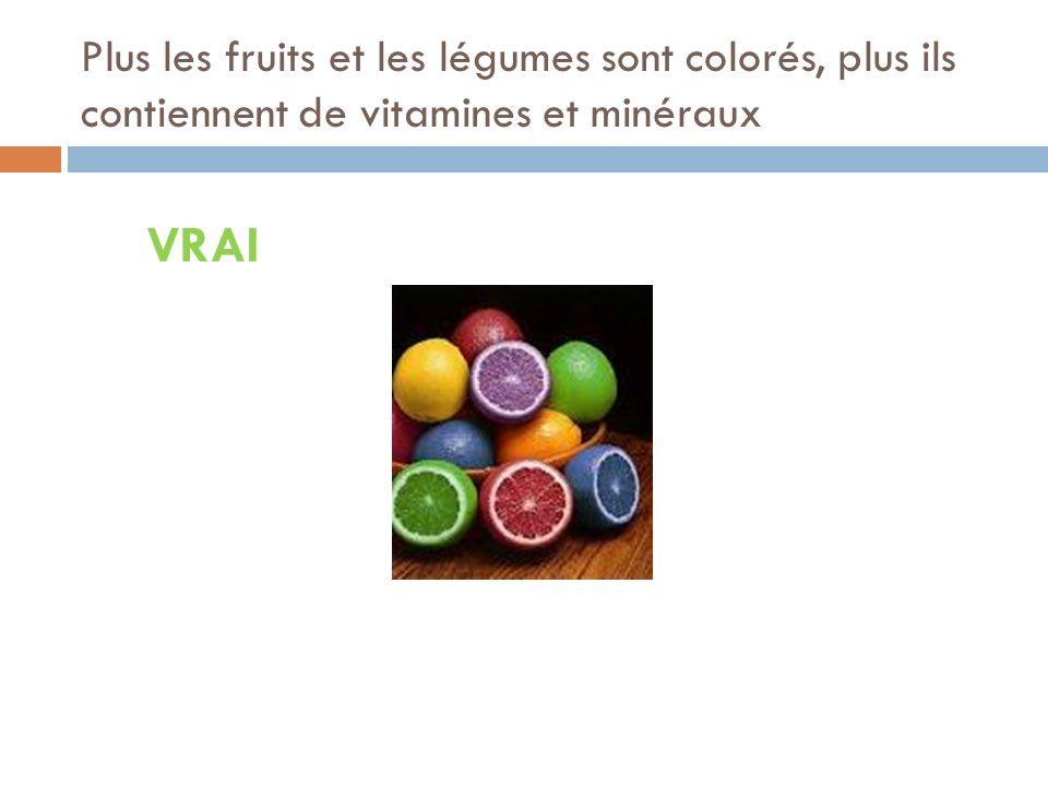 VRAI Plus les fruits et les légumes sont colorés, plus ils contiennent de vitamines et minéraux