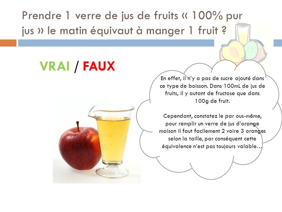 Prendre 1 verre de jus de fruits « 100% pur jus » le matin équivaut à manger 1 fruit .