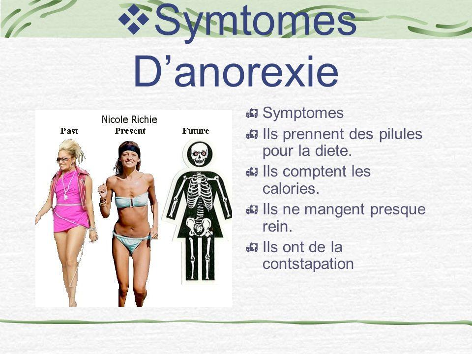 Symtomes Danorexie Symptomes Ils prennent des pilules pour la diete.