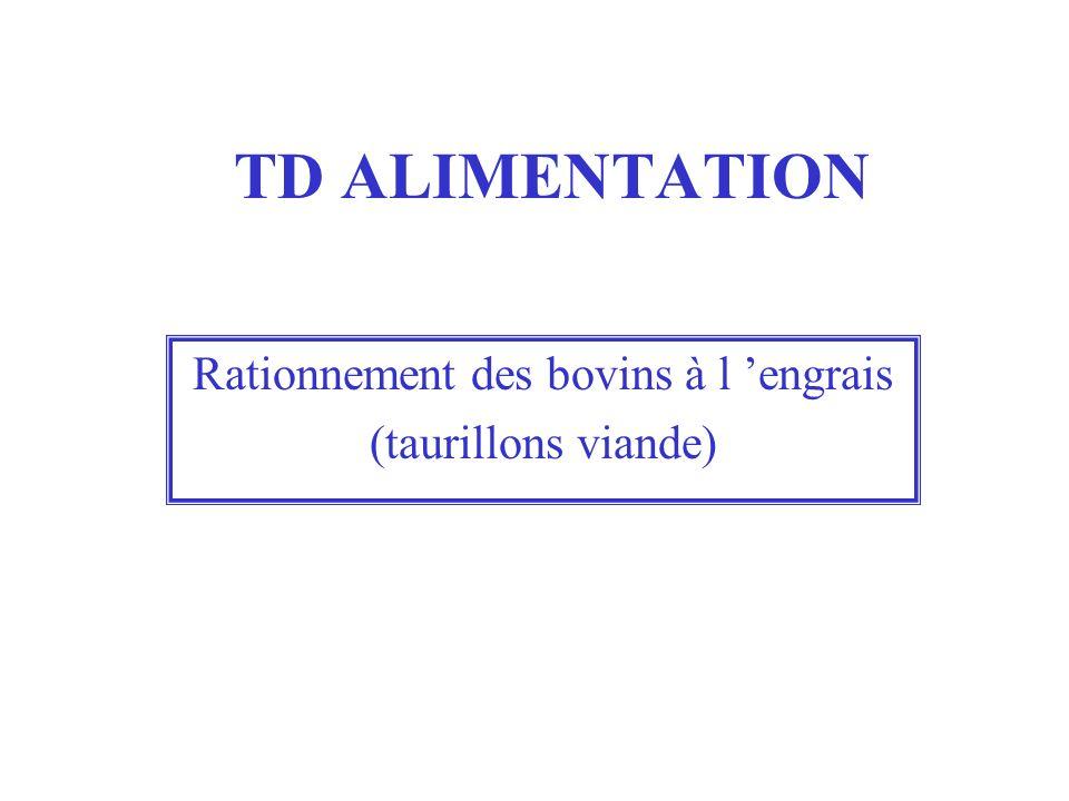 TD ALIMENTATION Rationnement des bovins à l engrais (taurillons viande)