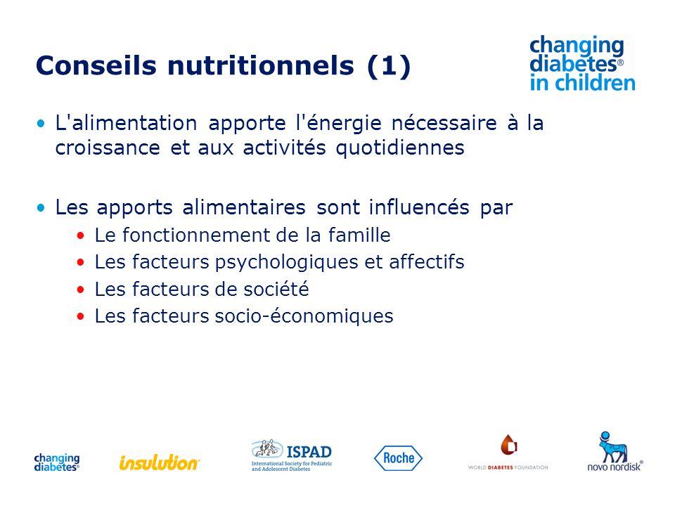Conseils nutritionnels (1) L'alimentation apporte l'énergie nécessaire à la croissance et aux activités quotidiennes Les apports alimentaires sont inf