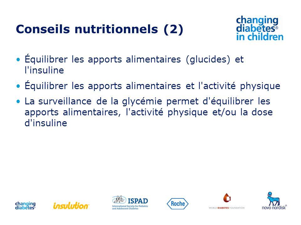 Équilibrer les apports alimentaires (glucides) et l'insuline Équilibrer les apports alimentaires et l'activité physique La surveillance de la glycémie