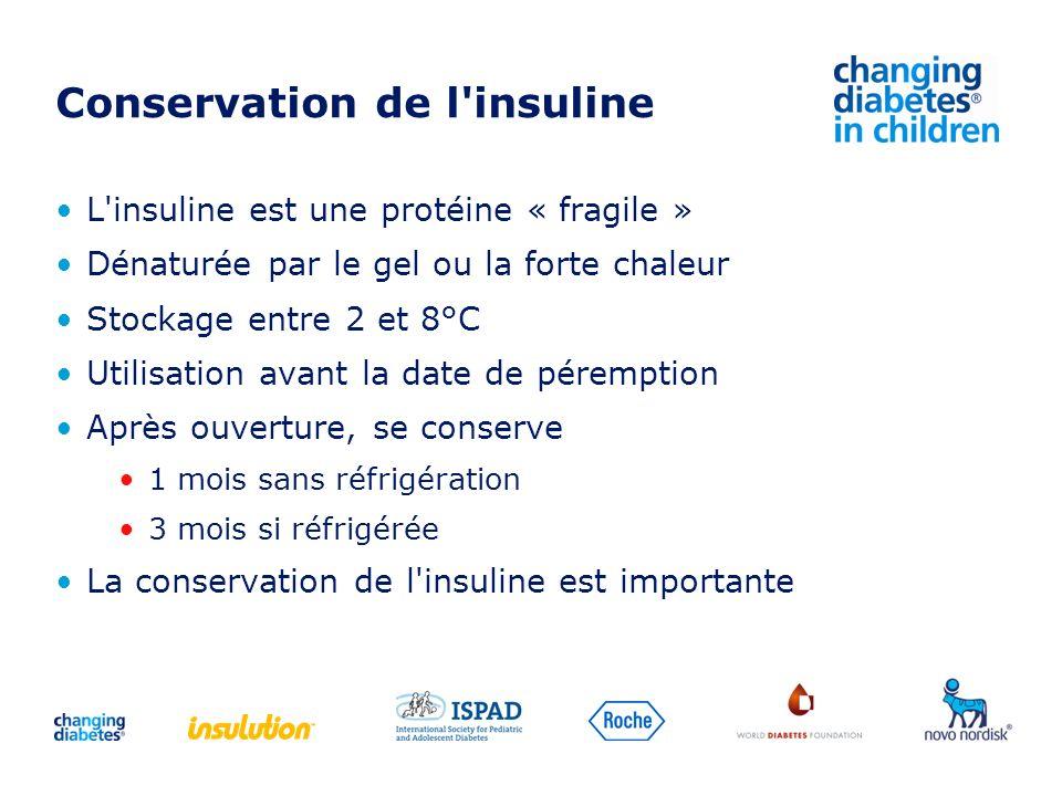 Conservation de l'insuline L'insuline est une protéine « fragile » Dénaturée par le gel ou la forte chaleur Stockage entre 2 et 8°C Utilisation avant