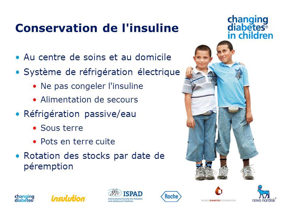 Conservation de l'insuline Au centre de soins et au domicile Système de réfrigération électrique Ne pas congeler l'insuline Alimentation de secours Ré