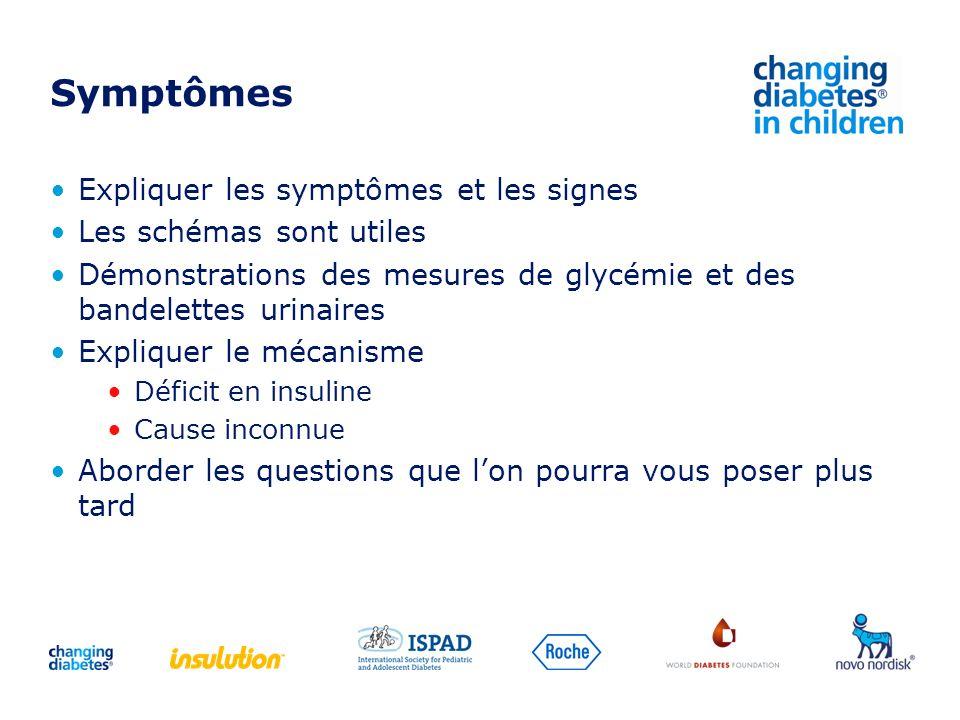 Symptômes Expliquer les symptômes et les signes Les schémas sont utiles Démonstrations des mesures de glycémie et des bandelettes urinaires Expliquer