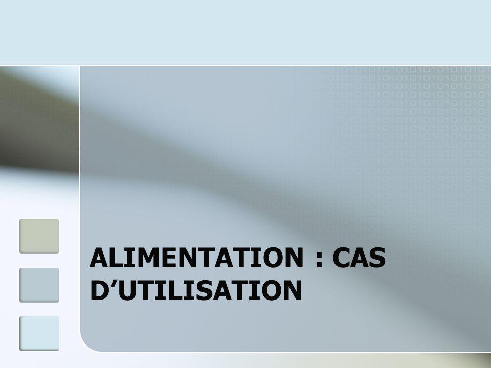 ALIMENTATION : CAS DUTILISATION