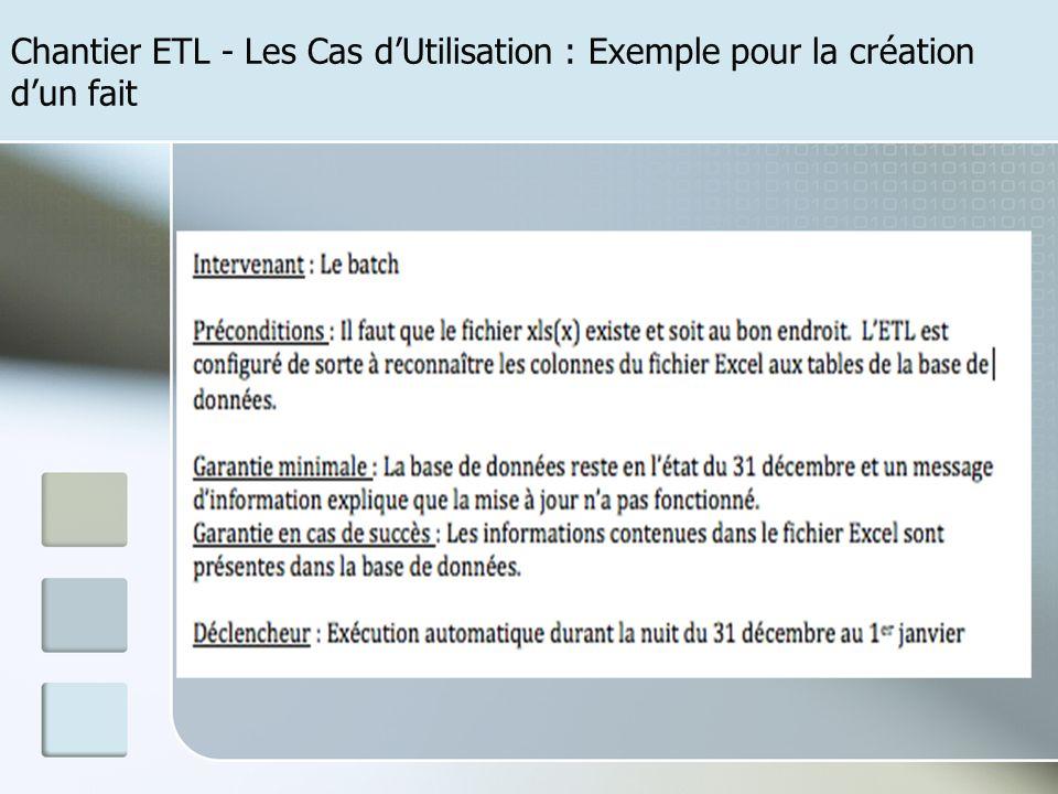 Chantier ETL - Les Cas dUtilisation : Exemple pour la création dun fait