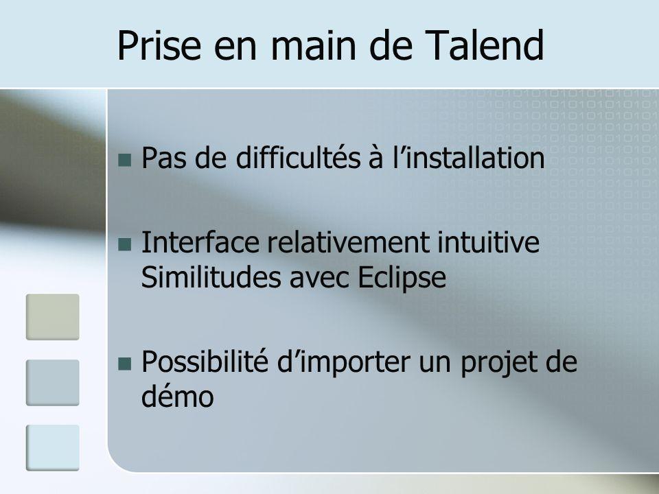 Prise en main de Talend Pas de difficultés à linstallation Interface relativement intuitive Similitudes avec Eclipse Possibilité dimporter un projet de démo