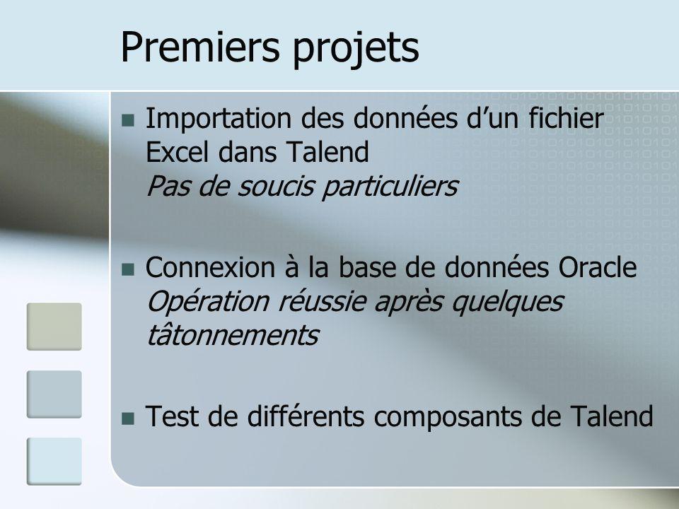 Premiers projets Importation des données dun fichier Excel dans Talend Pas de soucis particuliers Connexion à la base de données Oracle Opération réussie après quelques tâtonnements Test de différents composants de Talend