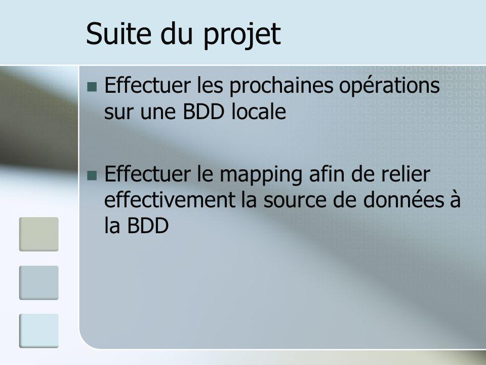 Suite du projet Effectuer les prochaines opérations sur une BDD locale Effectuer le mapping afin de relier effectivement la source de données à la BDD