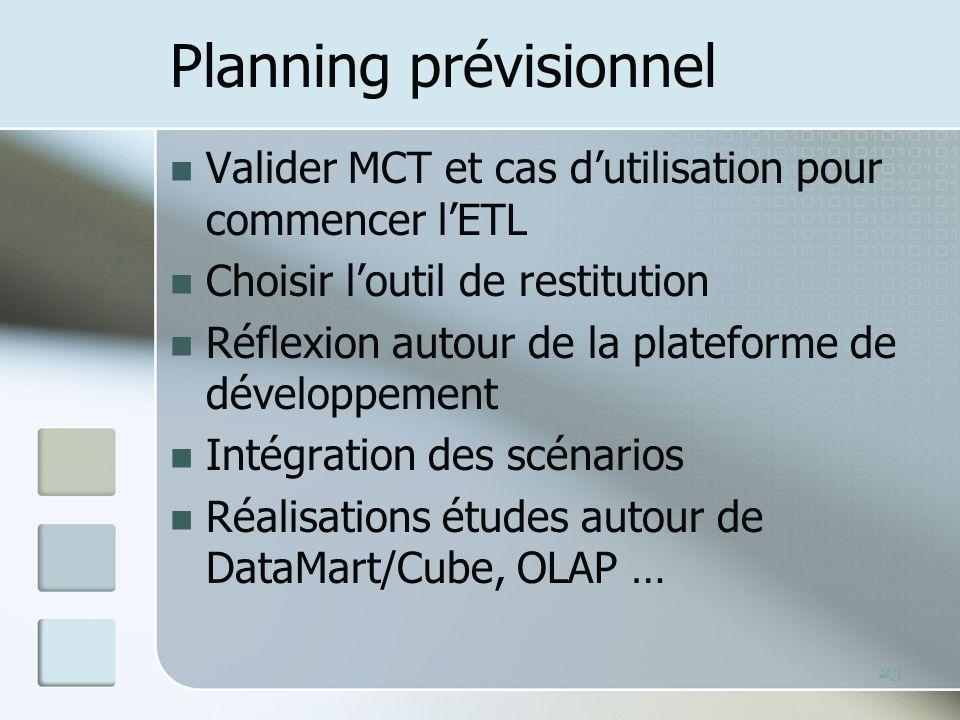 Planning prévisionnel Valider MCT et cas dutilisation pour commencer lETL Choisir loutil de restitution Réflexion autour de la plateforme de développement Intégration des scénarios Réalisations études autour de DataMart/Cube, OLAP … 23