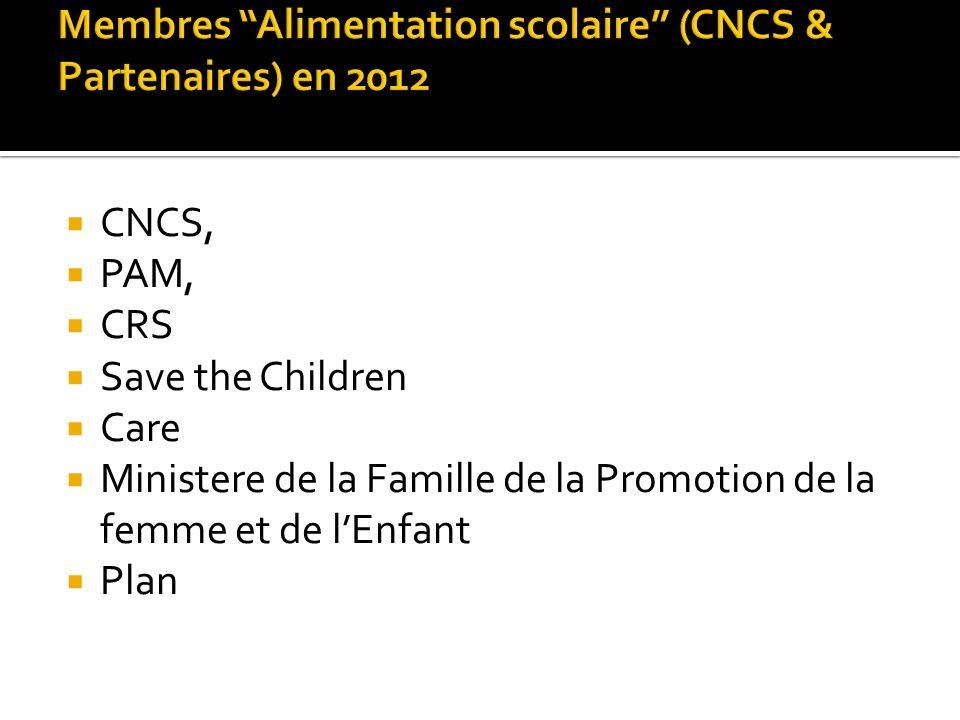 CNCS, PAM, CRS Save the Children Care Ministere de la Famille de la Promotion de la femme et de lEnfant Plan