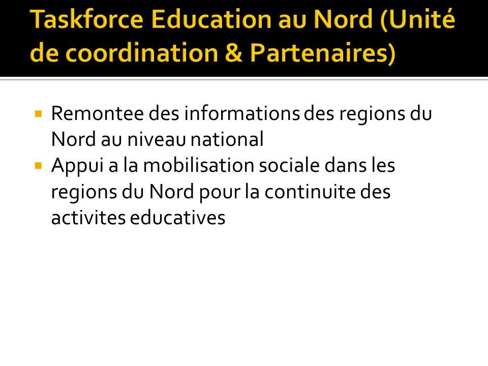 Remontee des informations des regions du Nord au niveau national Appui a la mobilisation sociale dans les regions du Nord pour la continuite des activites educatives