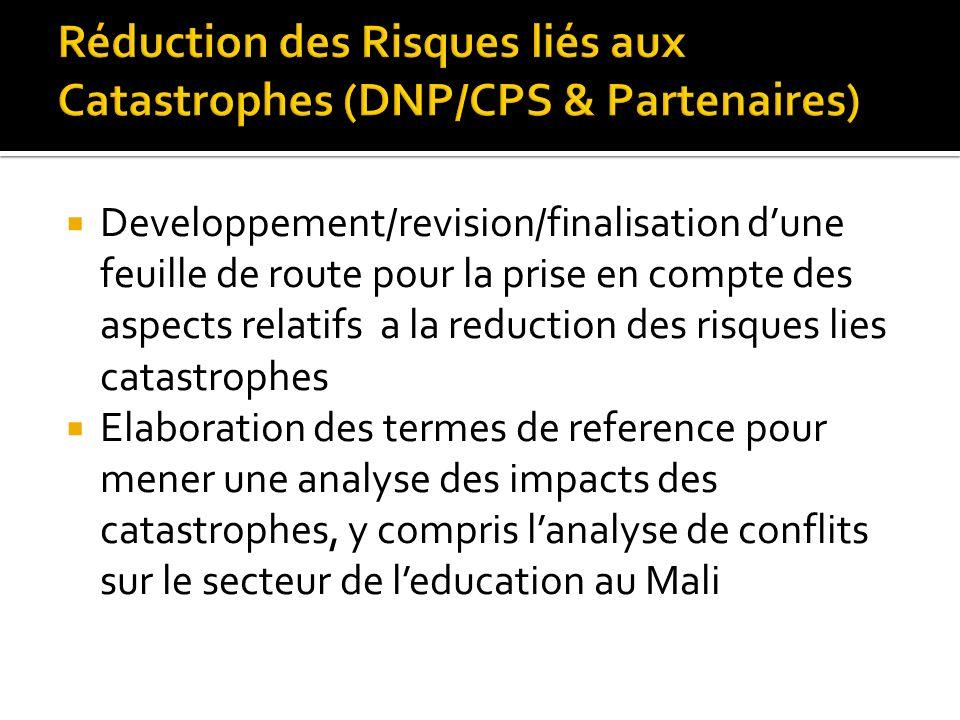 Developpement/revision/finalisation dune feuille de route pour la prise en compte des aspects relatifs a la reduction des risques lies catastrophes Elaboration des termes de reference pour mener une analyse des impacts des catastrophes, y compris lanalyse de conflits sur le secteur de leducation au Mali