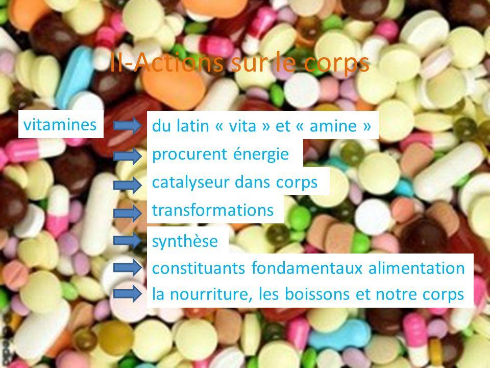 II-Actions sur le corps vitamines procurent énergie du latin « vita » et « amine » catalyseur dans corps transformations synthèse constituants fondame
