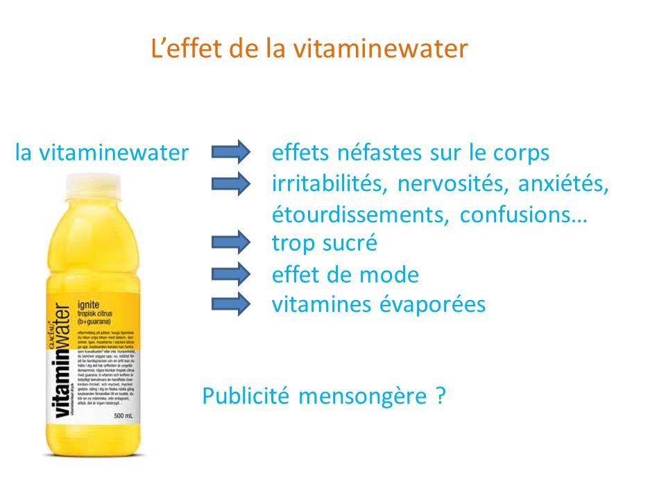 Leffet de la vitaminewater la vitaminewater effets néfastes sur le corps irritabilités, nervosités, anxiétés, étourdissements, confusions… trop sucré
