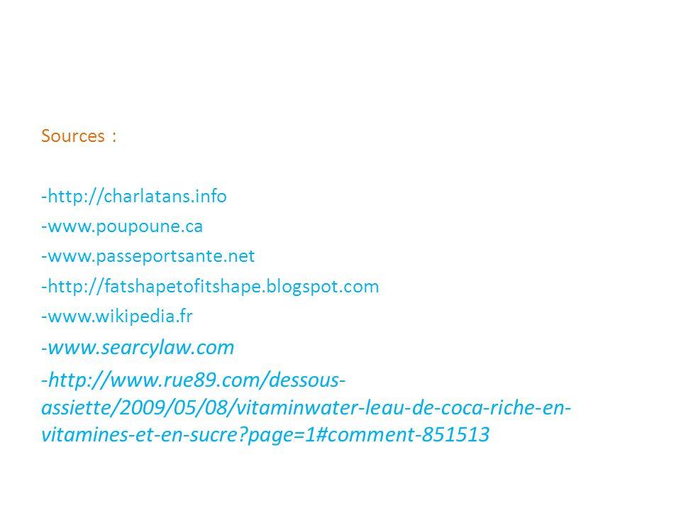 Sources : -http://charlatans.info -www.poupoune.ca -www.passeportsante.net -http://fatshapetofitshape.blogspot.com -www.wikipedia.fr - www.searcylaw.c