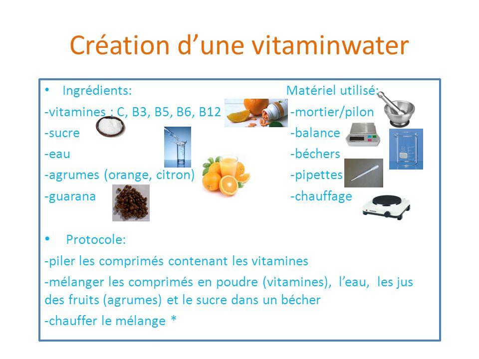 Création dune vitaminwater Ingrédients: Matériel utilisé: -vitamines : C, B3, B5, B6, B12 -mortier/pilon -sucre -balance -eau -béchers -agrumes (orang