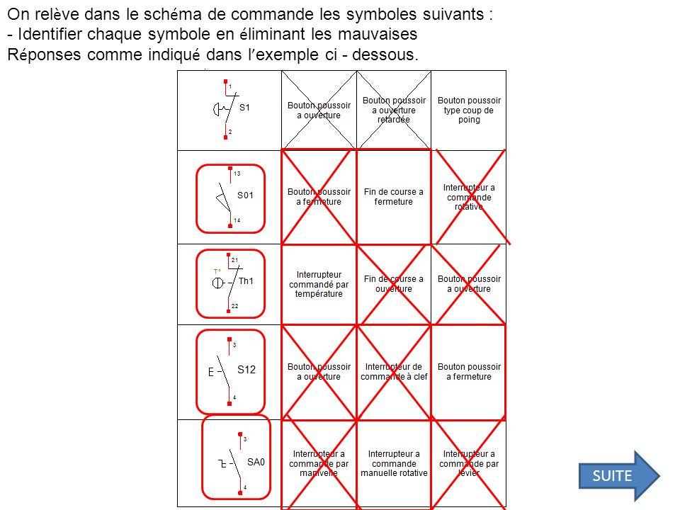 On rel è ve dans le sch é ma de commande les symboles suivants : - Identifier chaque symbole en é liminant les mauvaises R é ponses comme indiqu é dan
