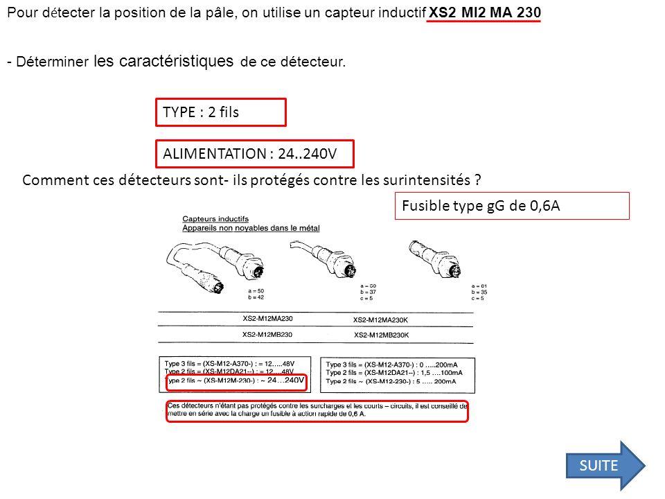 Pour d é tecter la position de la pâle, on utilise un capteur inductif XS2 Ml2 MA 230 - Déterminer les caractéristiques de ce détecteur. TYPE : 2 fils
