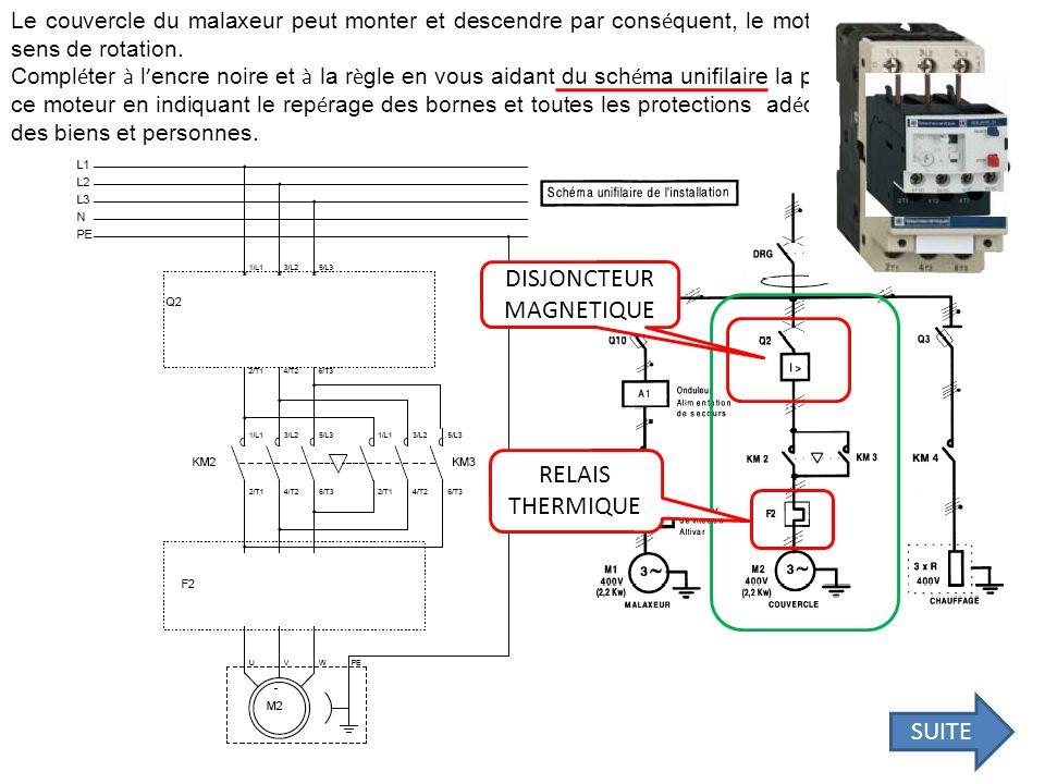 L alimentation du malaxeur peut se repr é senter suivant le sch é ma suivant : Compl é ter le tableau suivant en indiquant la d é signation, la fonction et le signal retrouv é en sortie (alternatif ou continu) pour chaque rep è re RepèreDésignationFonctionsignal 1 2 3 4 5 Réseau alimentation Alimenter le circuit alternatif Pont redresseur Convertir signal alternatif en continu Continu accumulateur Accumuler de l energie électrique Continu Onduleur Convertir signal continu en alternatif alternatif Moteur asynchrone Convertir de l energie électrique en énergie mécanique alternatif SUITE