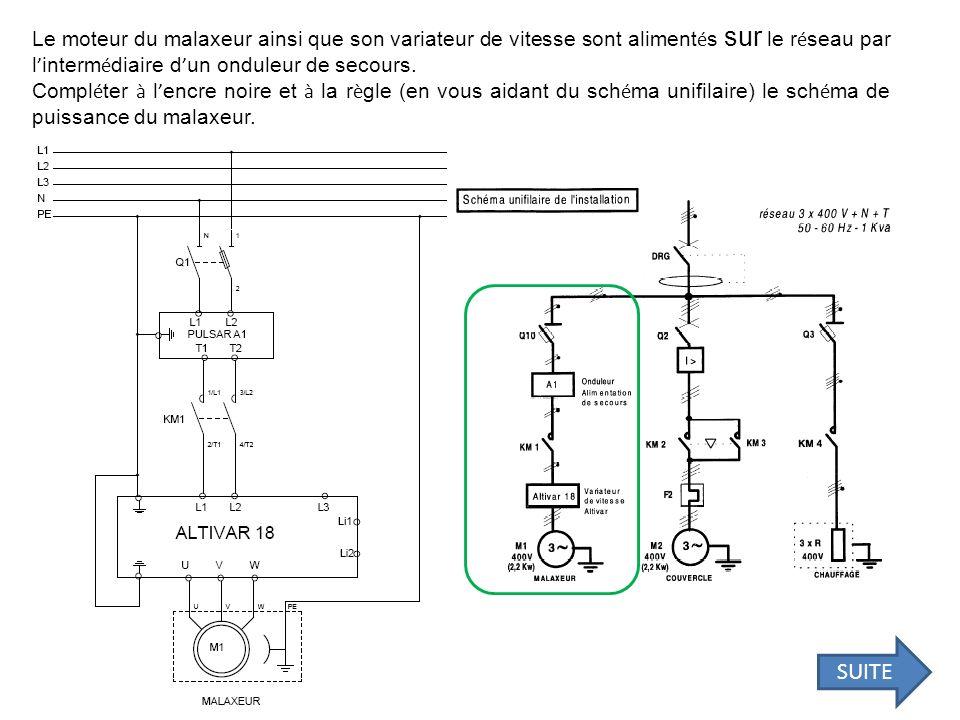 Le moteur du malaxeur ainsi que son variateur de vitesse sont aliment é s sur le r é seau par l interm é diaire d un onduleur de secours. Compl é ter