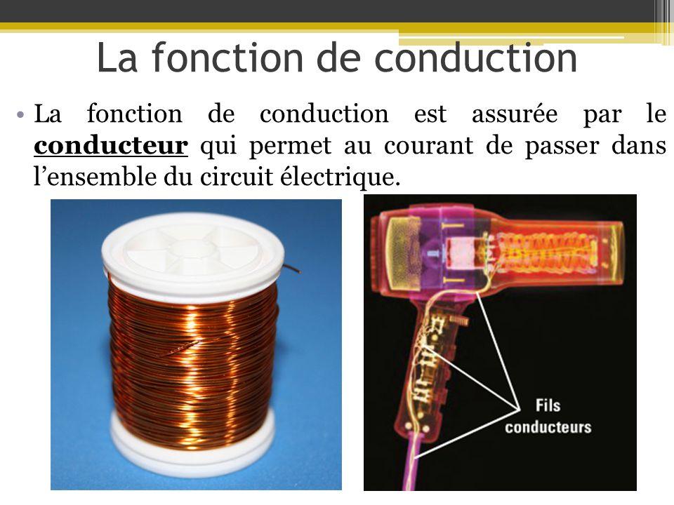 La fonction de conduction La fonction de conduction est assurée par le conducteur qui permet au courant de passer dans lensemble du circuit électrique