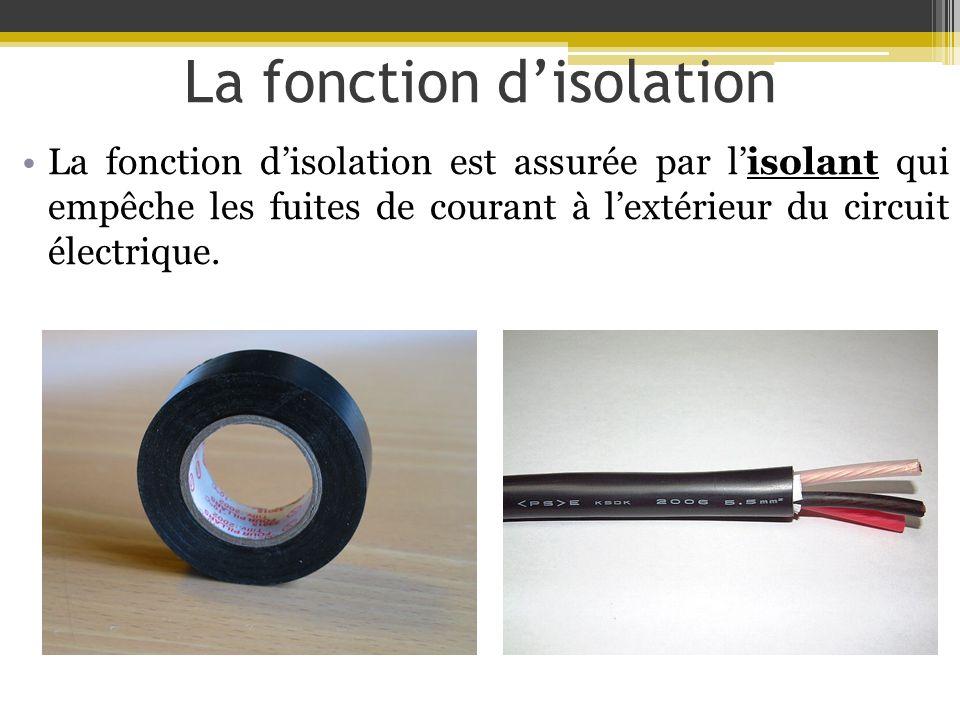 La fonction disolation La fonction disolation est assurée par lisolant qui empêche les fuites de courant à lextérieur du circuit électrique.