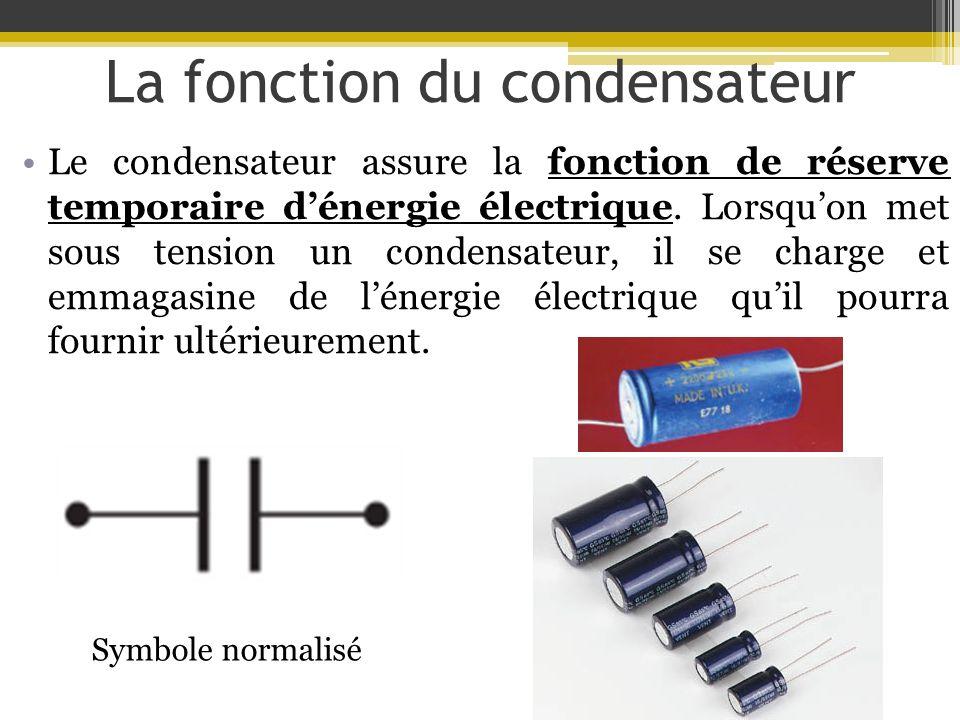 La fonction du condensateur Le condensateur assure la fonction de réserve temporaire dénergie électrique. Lorsquon met sous tension un condensateur, i