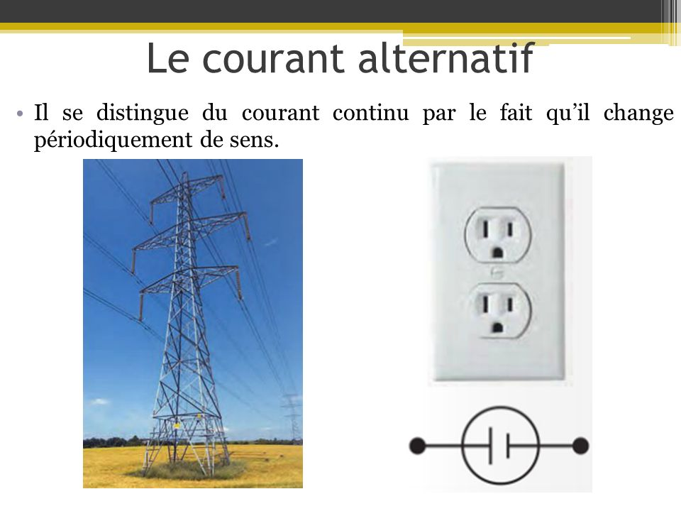 Le courant alternatif Il se distingue du courant continu par le fait quil change périodiquement de sens.