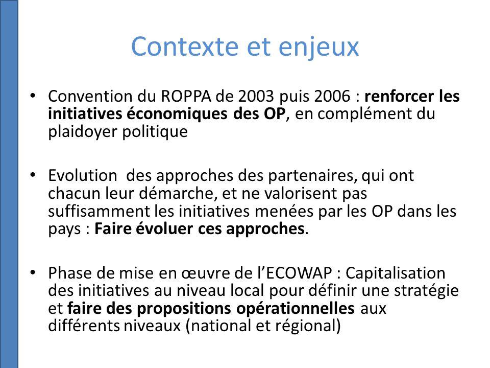 Contexte et enjeux Convention du ROPPA de 2003 puis 2006 : renforcer les initiatives économiques des OP, en complément du plaidoyer politique Evolution des approches des partenaires, qui ont chacun leur démarche, et ne valorisent pas suffisamment les initiatives menées par les OP dans les pays : Faire évoluer ces approches.
