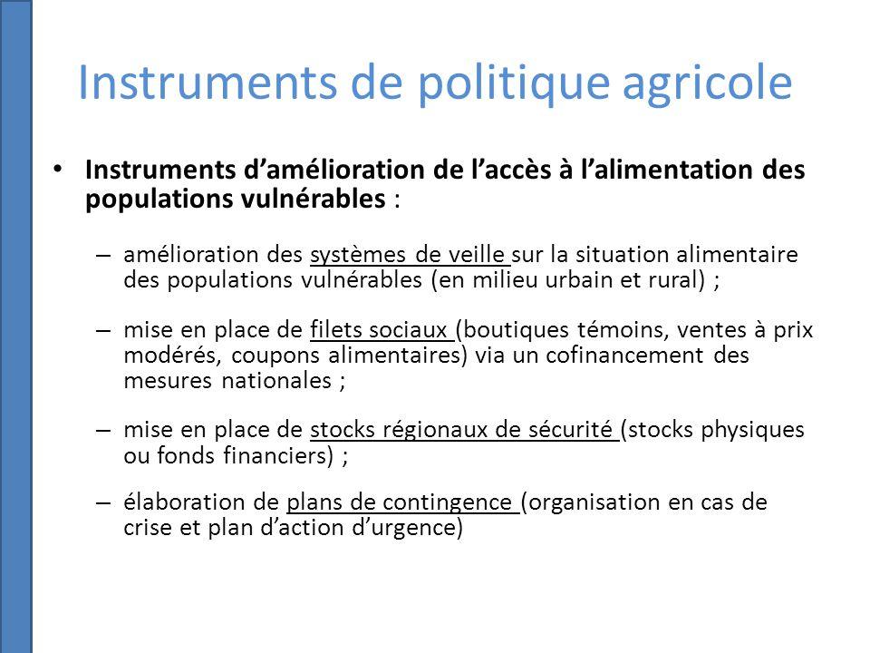Instruments de politique agricole Création dun fonds de développement agricole logé à la BIDC (ECOWADF) pour appuyer le financement de ces activités.
