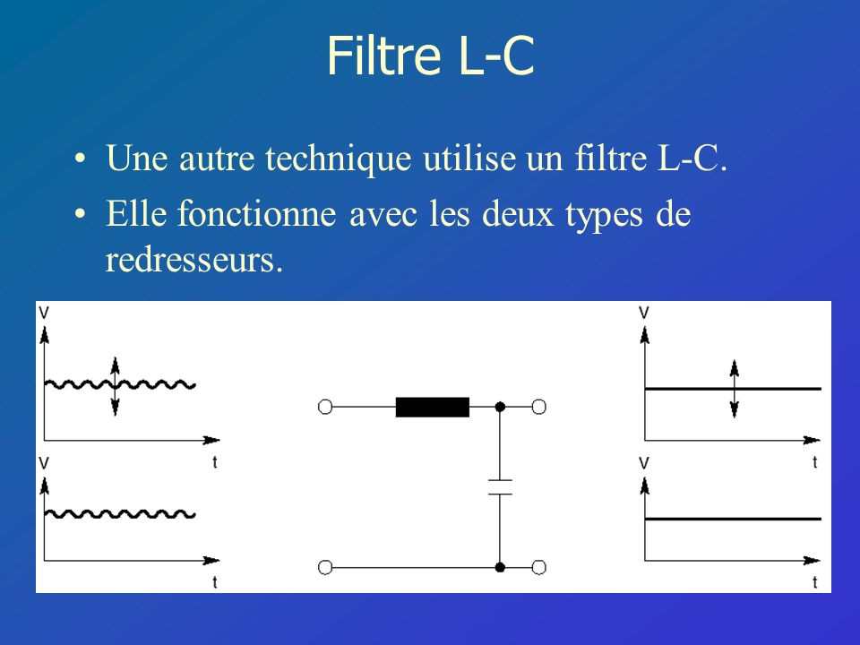 Filtre L-C Une autre technique utilise un filtre L-C. Elle fonctionne avec les deux types de redresseurs.