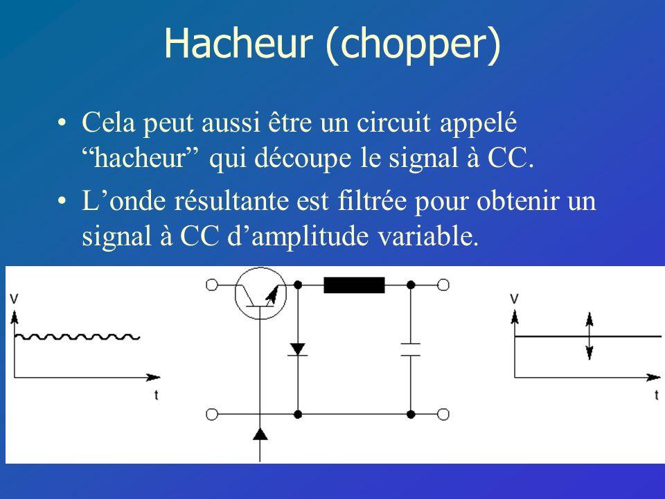 Hacheur (chopper) Cela peut aussi être un circuit appelé hacheur qui découpe le signal à CC. Londe résultante est filtrée pour obtenir un signal à CC