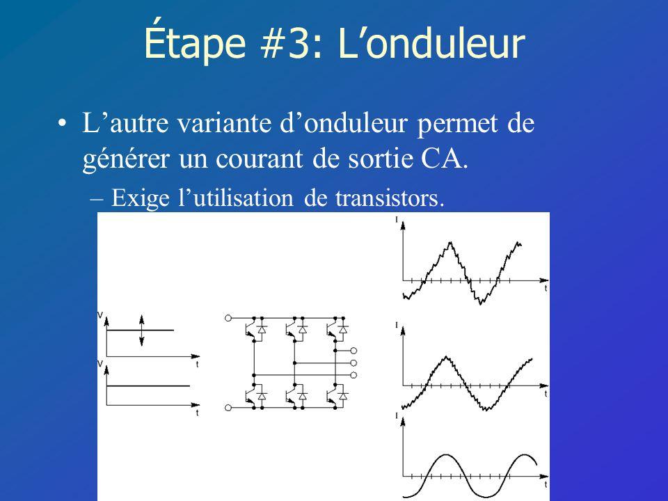 Étape #3: Londuleur Lautre variante donduleur permet de générer un courant de sortie CA. –Exige lutilisation de transistors.