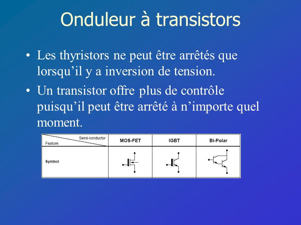 Onduleur à transistors Les thyristors ne peut être arrêtés que lorsquil y a inversion de tension. Un transistor offre plus de contrôle puisquil peut ê