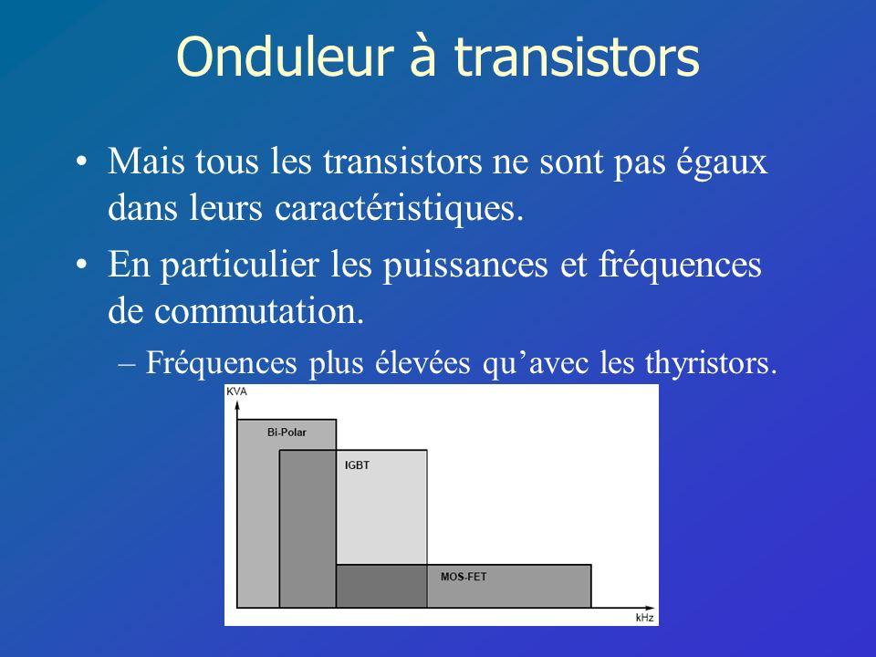 Onduleur à transistors Mais tous les transistors ne sont pas égaux dans leurs caractéristiques. En particulier les puissances et fréquences de commuta