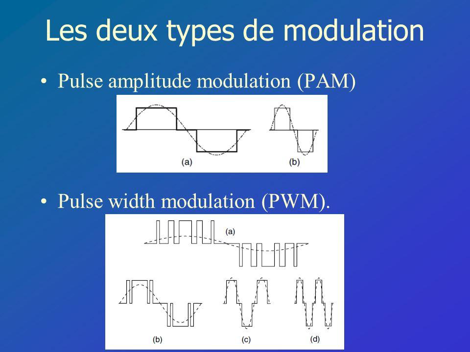 Les deux types de modulation Pulse amplitude modulation (PAM) Pulse width modulation (PWM).