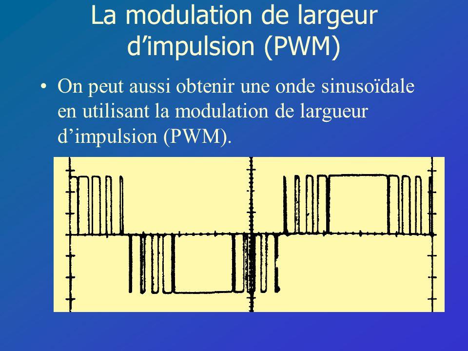 La modulation de largeur dimpulsion (PWM) On peut aussi obtenir une onde sinusoïdale en utilisant la modulation de largueur dimpulsion (PWM).