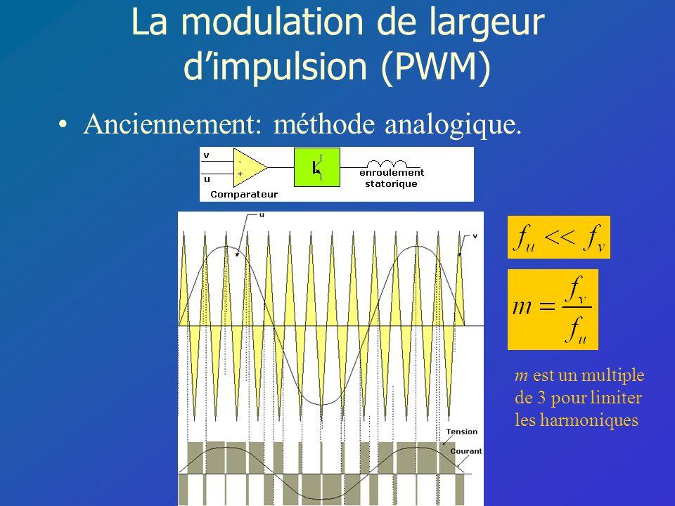 La modulation de largeur dimpulsion (PWM) Anciennement: méthode analogique. m est un multiple de 3 pour limiter les harmoniques