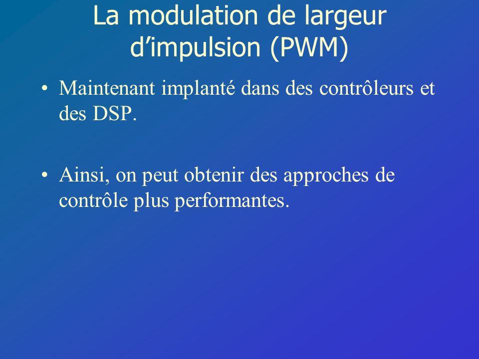 La modulation de largeur dimpulsion (PWM) Maintenant implanté dans des contrôleurs et des DSP. Ainsi, on peut obtenir des approches de contrôle plus p