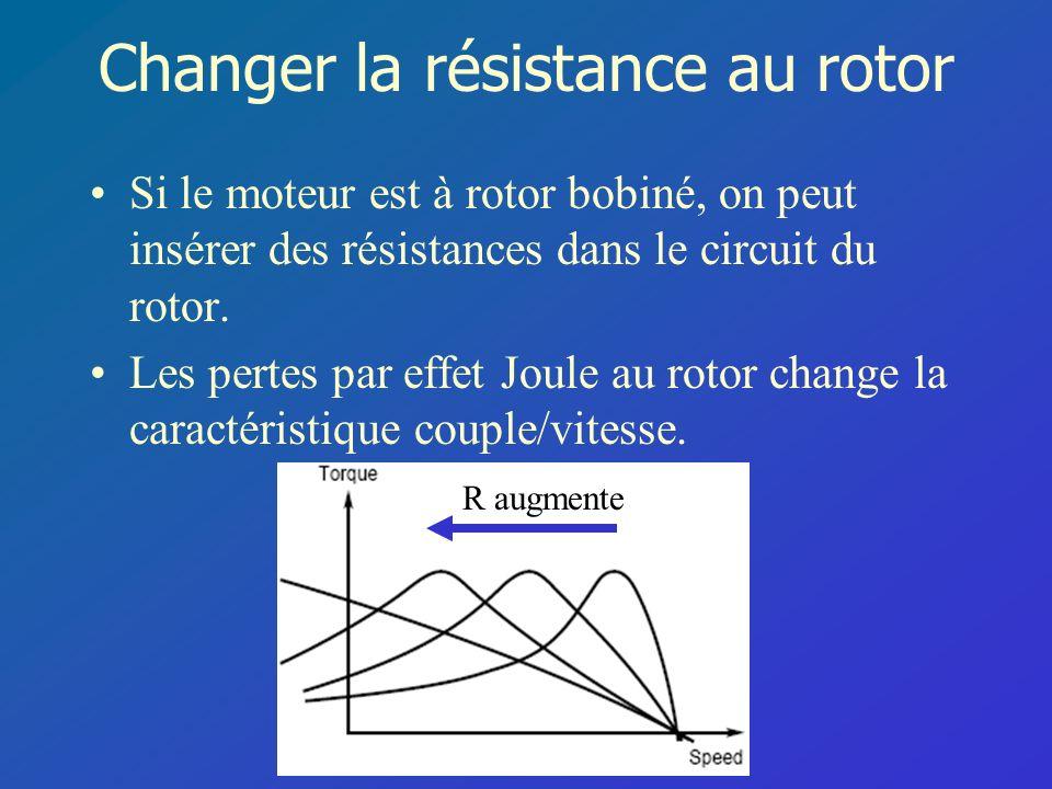 Changer la résistance au rotor Si le moteur est à rotor bobiné, on peut insérer des résistances dans le circuit du rotor. Les pertes par effet Joule a
