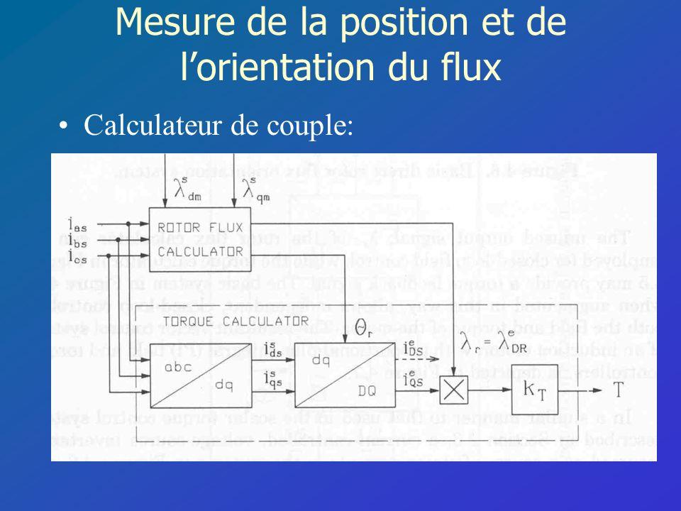 Mesure de la position et de lorientation du flux Calculateur de couple: