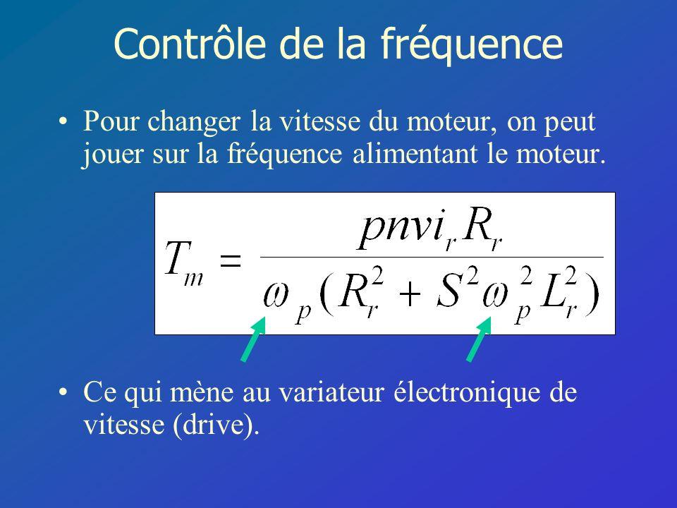 Contrôle de la fréquence Pour changer la vitesse du moteur, on peut jouer sur la fréquence alimentant le moteur. Ce qui mène au variateur électronique