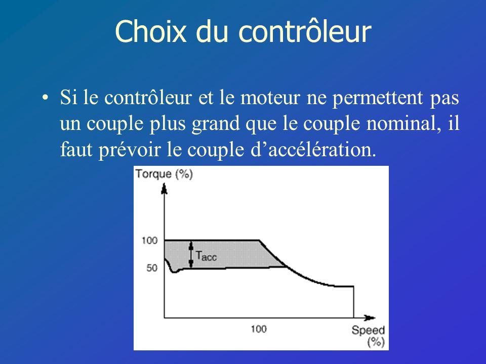Choix du contrôleur Si le contrôleur et le moteur ne permettent pas un couple plus grand que le couple nominal, il faut prévoir le couple daccélératio