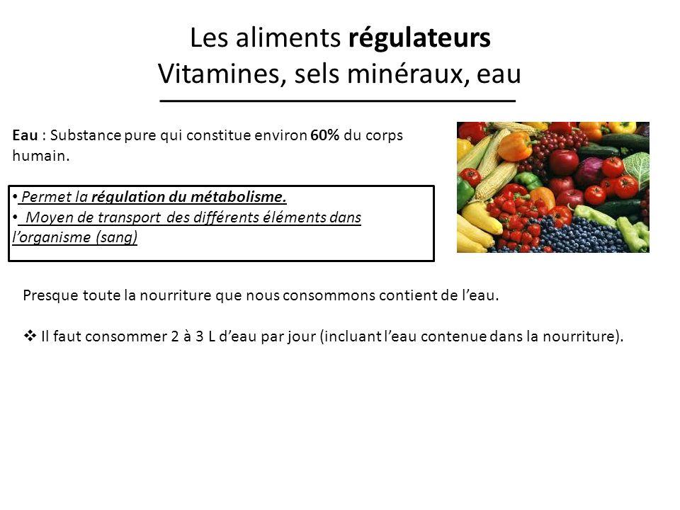 Les aliments régulateurs Vitamines, sels minéraux, eau Eau : Substance pure qui constitue environ 60% du corps humain. Permet la régulation du métabol