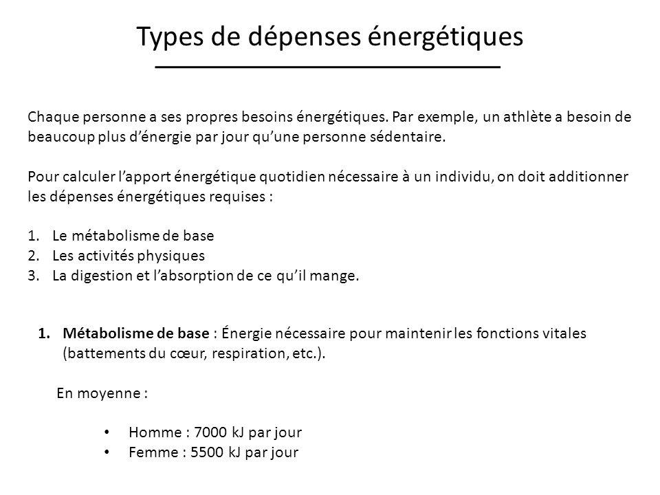 Types de dépenses énergétiques Chaque personne a ses propres besoins énergétiques. Par exemple, un athlète a besoin de beaucoup plus dénergie par jour