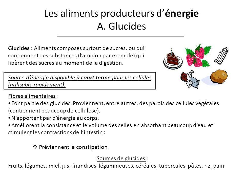 Les aliments producteurs dénergie A. Glucides Glucides : Aliments composés surtout de sucres, ou qui contiennent des substances (lamidon par exemple)